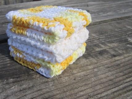 Yellow/White Dish Cloth Set, Wash Cloth Set, Cotton
